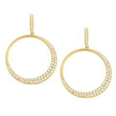 Diamond Crescent Circle Earrings