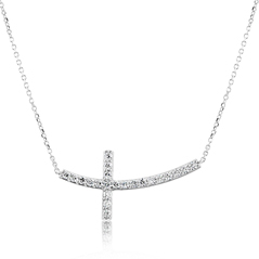 Diamond Curved Cross Necklace