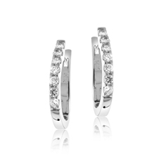 Diamond 'J' Hoop Earrings