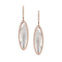 DOVES 18K Rose Gold Mother-of-Pearl & Diamond Dangle Earrings