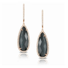DOVES Hematite & Diamond Pear Drop Earrings