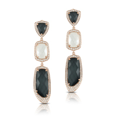 DOVES Hematite, Mother-of-Pearl & Diamond Dangle Earrings