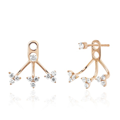 EF COLLECTION  Triple Trio Diamond Earrings with Jackets
