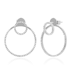 EF COLLECTION Diamond Cricle Earrings with Jackets
