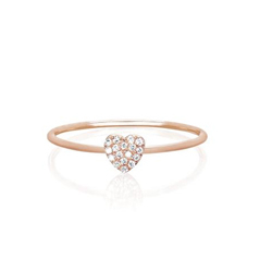 EF COLLECTION Diamond Heart Stackable Ring