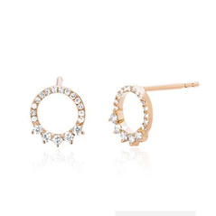 EF COLLECTION Diamond Open Circle Earrings
