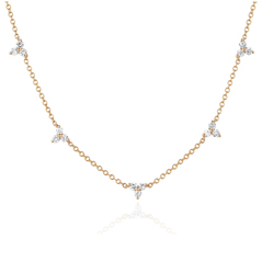 EF COLLECTION Trio Station Diamond Necklace