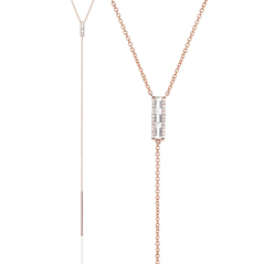 EF COLLECTION White Topaz & Diamond Bar Lariat