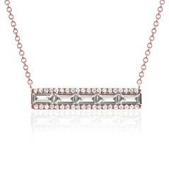 EF COLLECTION White Topaz & Diamond Bar Necklace