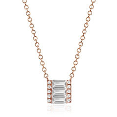 EF COLLECTION White Topaz & Diamond Brick Necklace