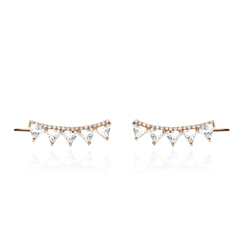 EF COLLECTION White Topaz & Diamond Ear Climbers