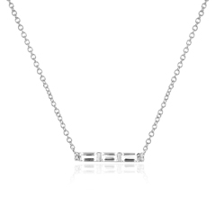 EF COLLECTION White Topaz & Diamond Mini Bar Necklace