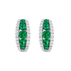 Emerald & Diamond Huggie Earrings