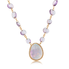 Estate Amethyst & Diamond Necklace
