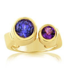 Estate Amethyst & Tanzanite Ring