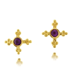Estate Amethyst Cross Earrings