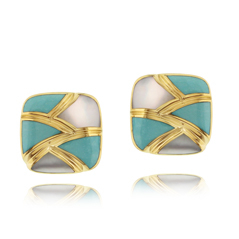 Estate Asch Grossbardt Mother-of-Pearl & Turquoise Earrings