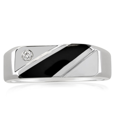 Estate Black Onyx & Diamond Band