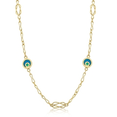 Estate Blue & Green Enamel Station Necklace