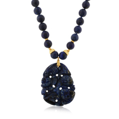 Estate Carved Lapis Beaded Necklace