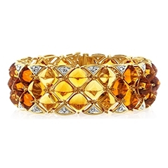 Estate Citrine & Diamond Bracelet