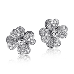 Estate Clover Leaf Platini Diamond Earrings