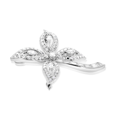 Estate Diamond Flower Brooch