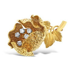 Estate Diamond Flower Pin