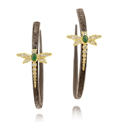 Estate Dragonfly Emerald & Diamond Hoop Earrings