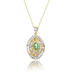 Estate Emerald & Diamond Pendant