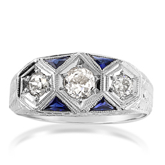 Estate European Cut Diamond & Sapphire Ring