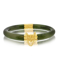 Estate Gold Nepherite Jade Hinged Bangle