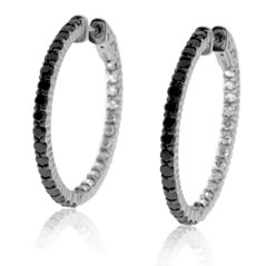 Estate Inside Out Black & White Diamond Hoop Earrings