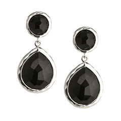 Estate Ippolita Sterling Silver Rock Candy Snowman Earrings in Black Onyx