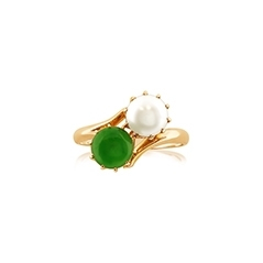 Estate Jadeite & Pearl Ring