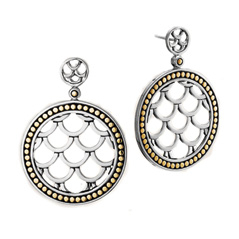 Estate John Hardy Naga Round Drop Earrings
