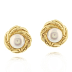 Estate Mikimoto Mabe Pearl Earrings