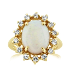Estate Opal & Diamond Ring