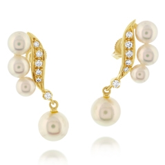 Estate Pearl & Diamond Earrings