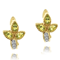 Estate Peridot & Diamond Earrings