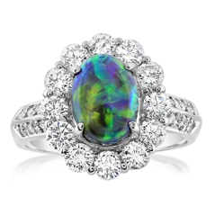 Estate Platinum Opal & Diamond Ring