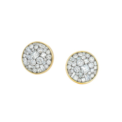 Estate Pleve Ice Mini Pebble Diamond Stud Earrings