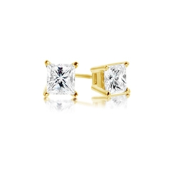 Estate Princess Cut Diamond Studs