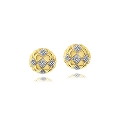 Estate Quilted Diamond Button Earrings