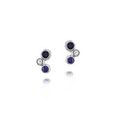 Estate Sapphire & Diamond Bubble Earrings