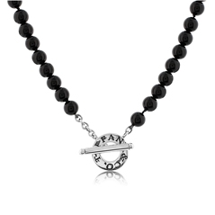 Estate Tiffany & Co. Black Onyx Bead Necklace