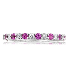 Estate Tiffany & Co. Diamond & Pink Sapphire Eternity Band
