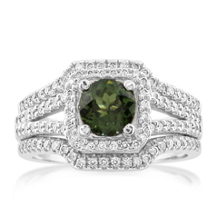 Estate Tourmaline & Diamond Ring