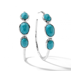 Estate Turquoise Hoop Earrings
