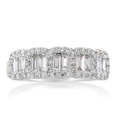 Five Stone Diamond Halo Ring